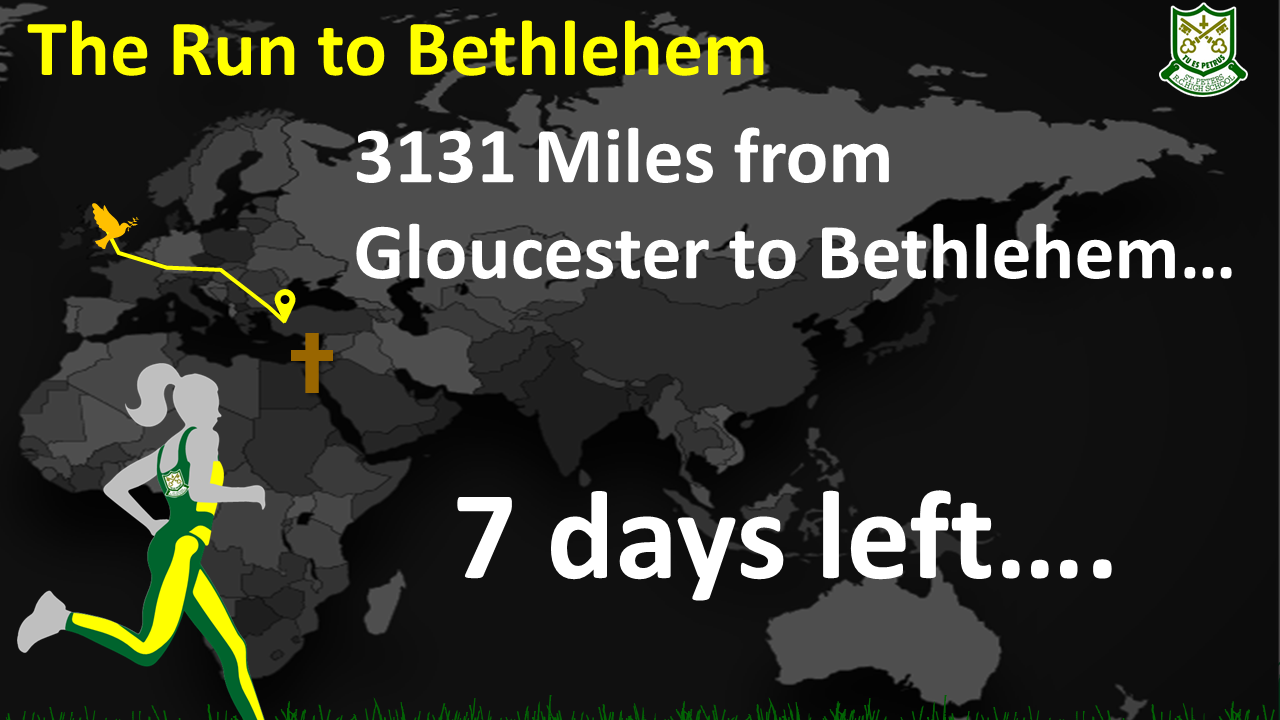 3131 Miles to Bethlehem - 7 days to go...